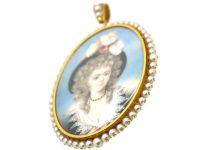 Large Regency Miniature Possibly of Georgiana Duchess of Devonshire in an 18ct Gold & Natural Pearl Frame