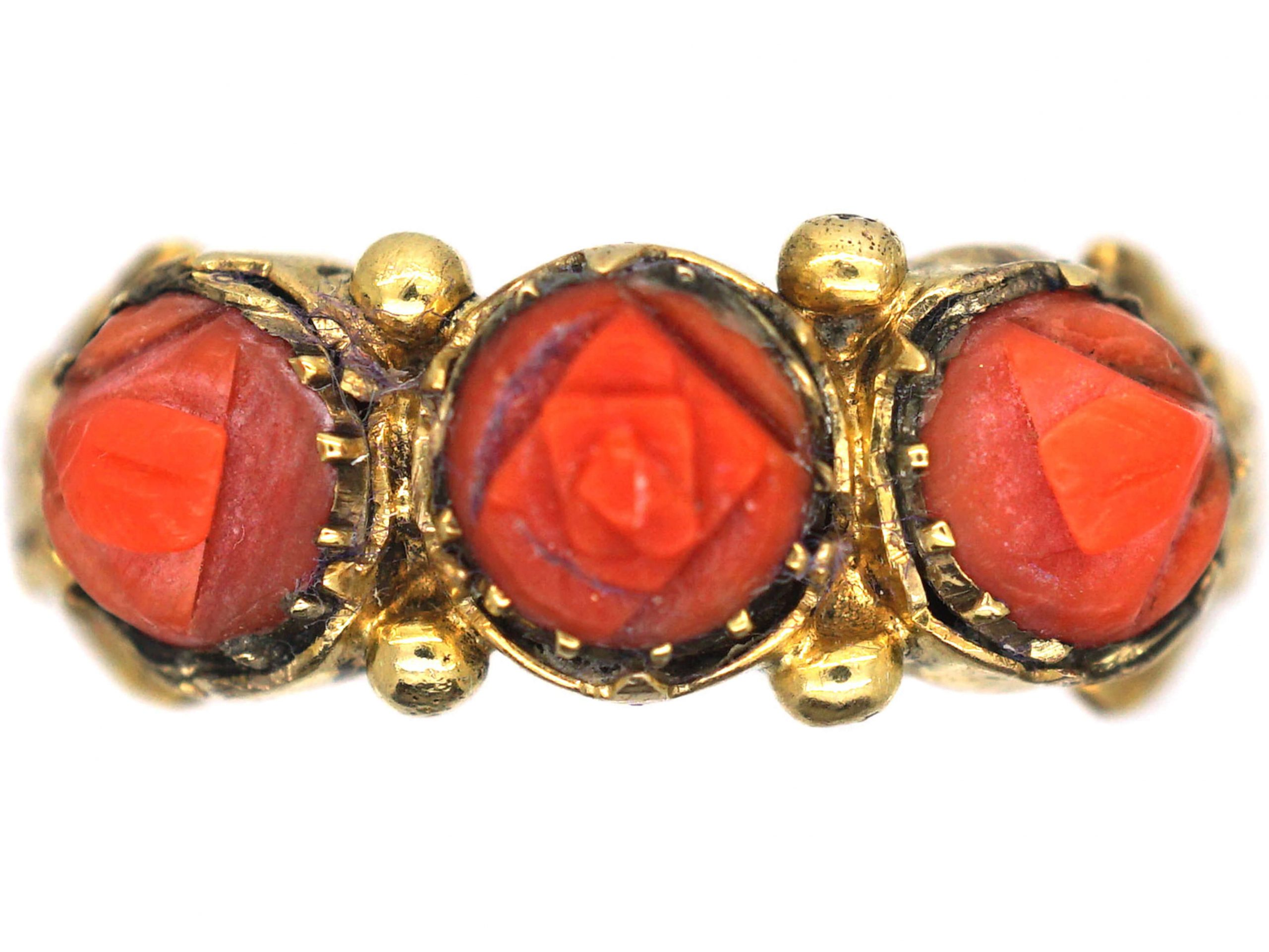 Georgian 15ct Gold & Carved Coral Ring
