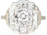 French Art Deco Platinum & Diamond Geometric Cluster Ring