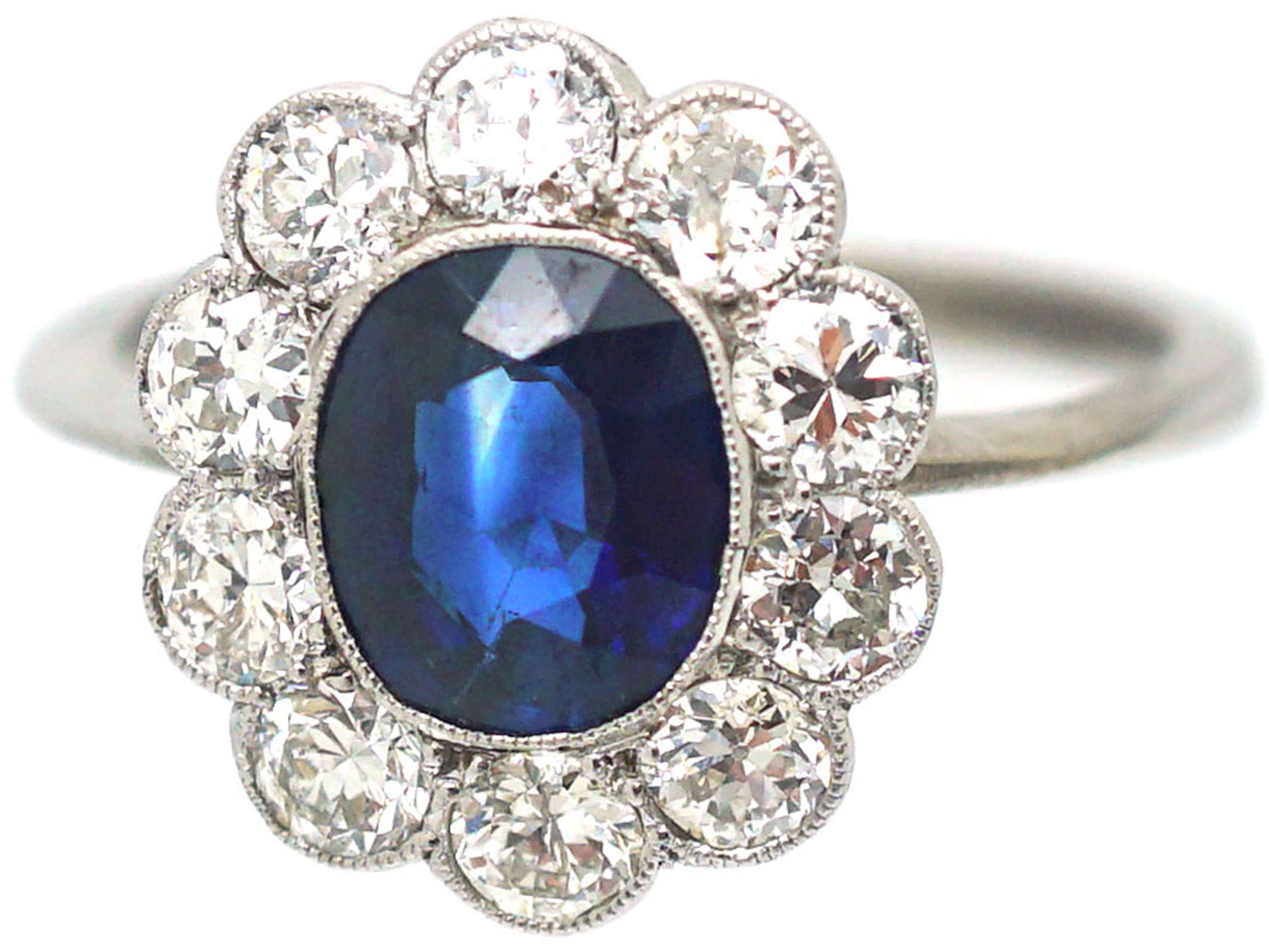 18ct White Gold, Sapphire & Diamond Oval Cluster Ring