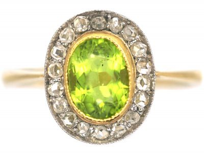 Edwardian 18ct Gold, Rose Diamond & Peridot Oval Cluster Ring
