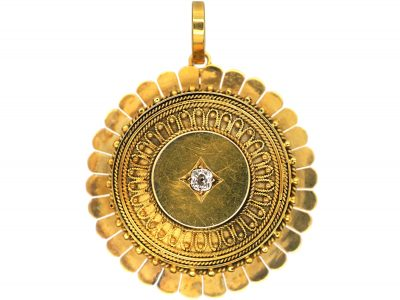 Victorian 15ct Gold Etruscan Style Pendant set with a Diamond with Locket on the Reverse