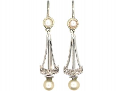 Edwardian 18ct White Gold Natural Split Pearl & Rose Diamond Drop Earrings