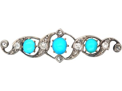 Victorian Turquoise & Diamond Brooch in Original Henry Tessier Case