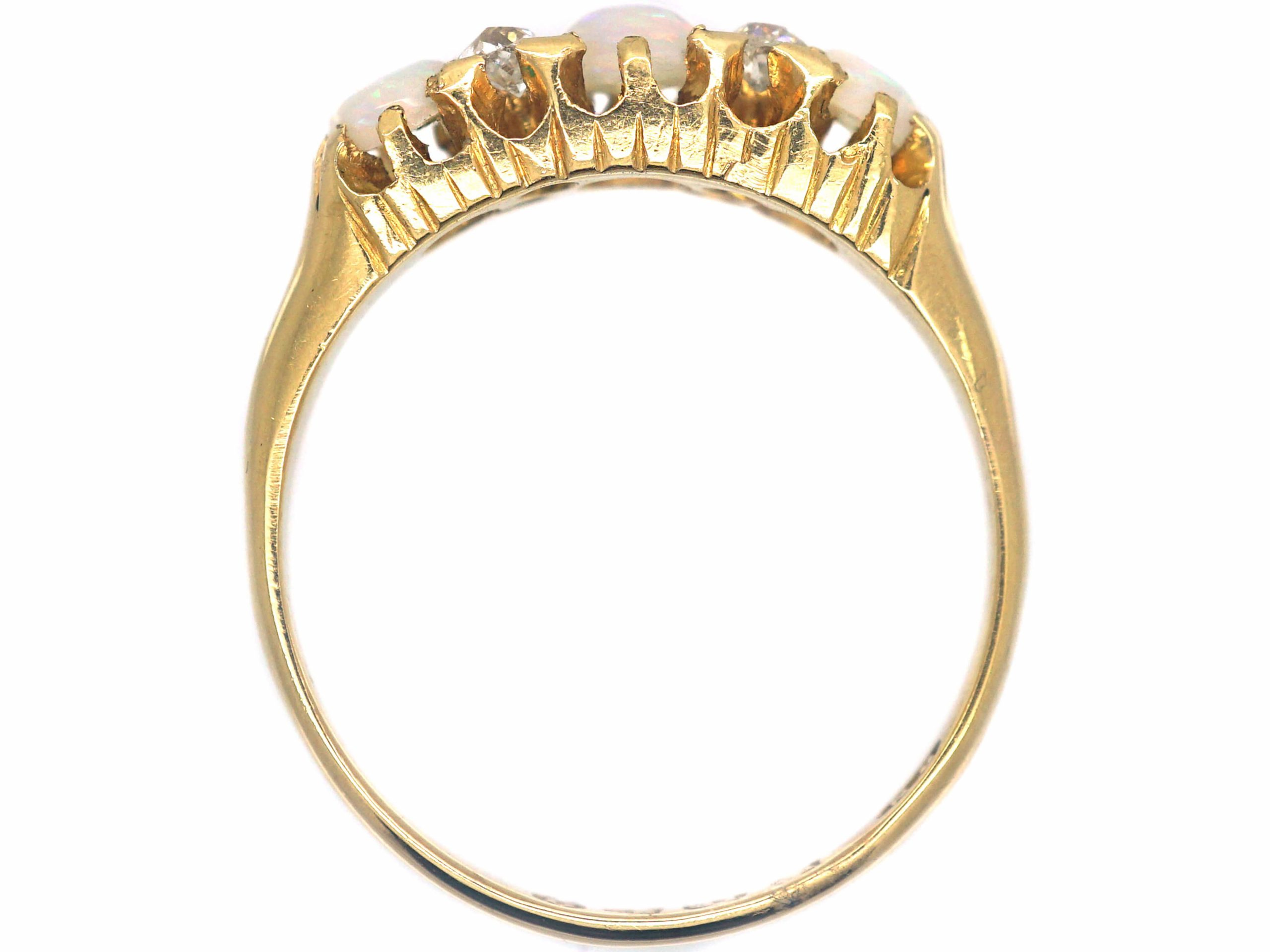 Victorian 18ct Gold, Three Stone Opal & Diamond Ring