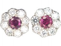 18ct White & Yellow Gold Ruby & Diamond Cluster Earrings