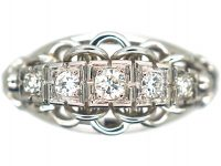 French Art Deco 18ct White Gold Ring set with Five Diamonds