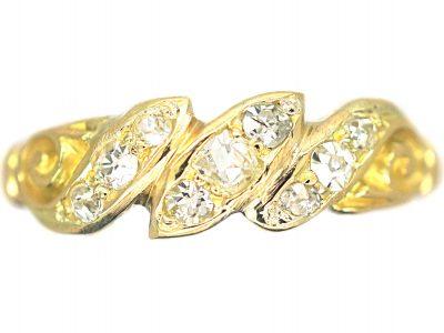Edwardian 18ct Gold, Diamond Triple Twist Ring