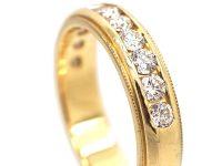 14ct Gold & Diamond Line Ring