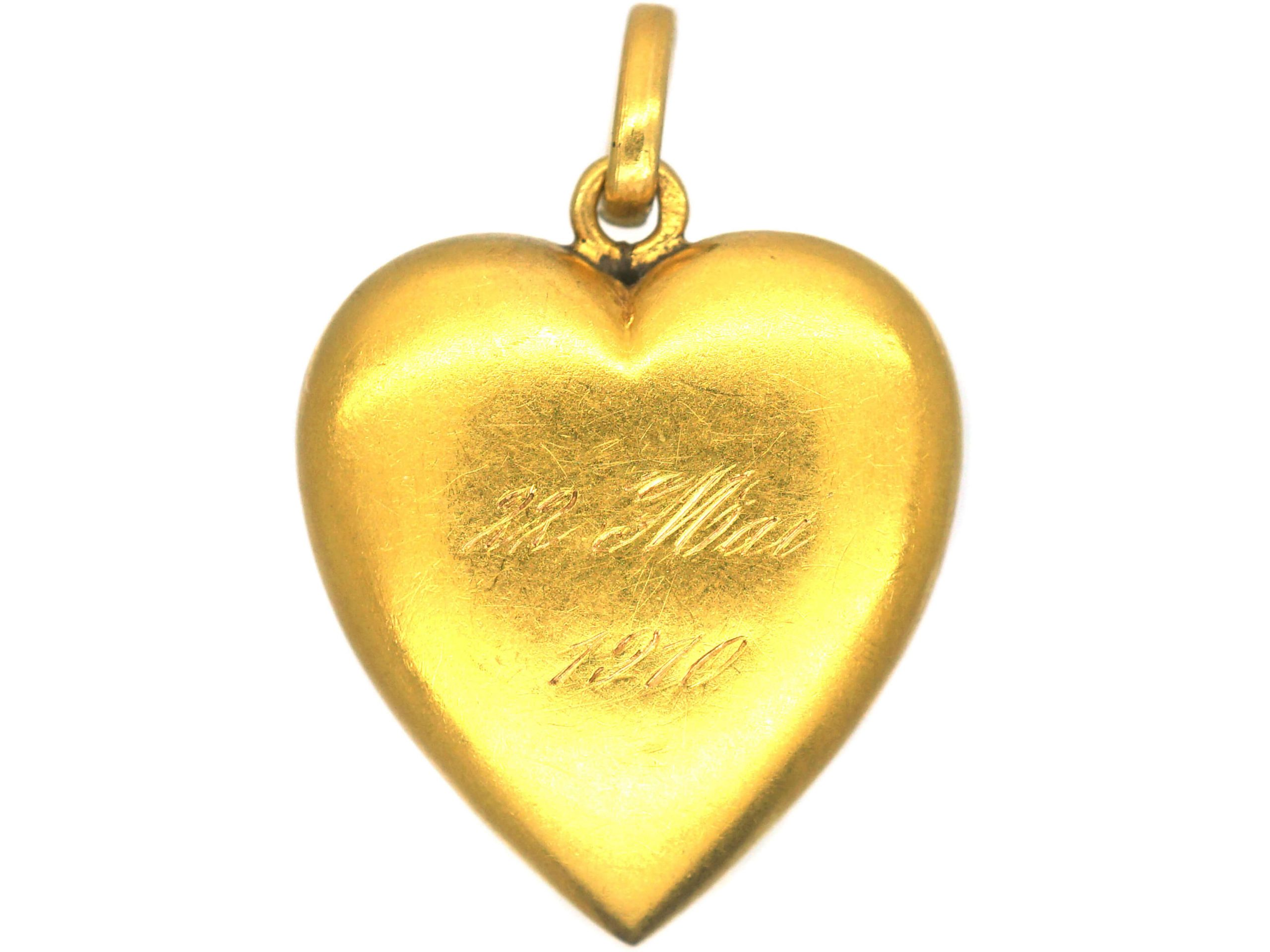 French Belle Epoque 18ct Gold Heart Pendant set with Natural Split Pearls