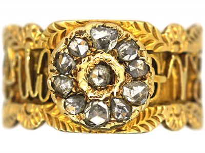 19th Century 18ct Gold Zodiac & 1811 Comet Ring set with Rose Diamonds