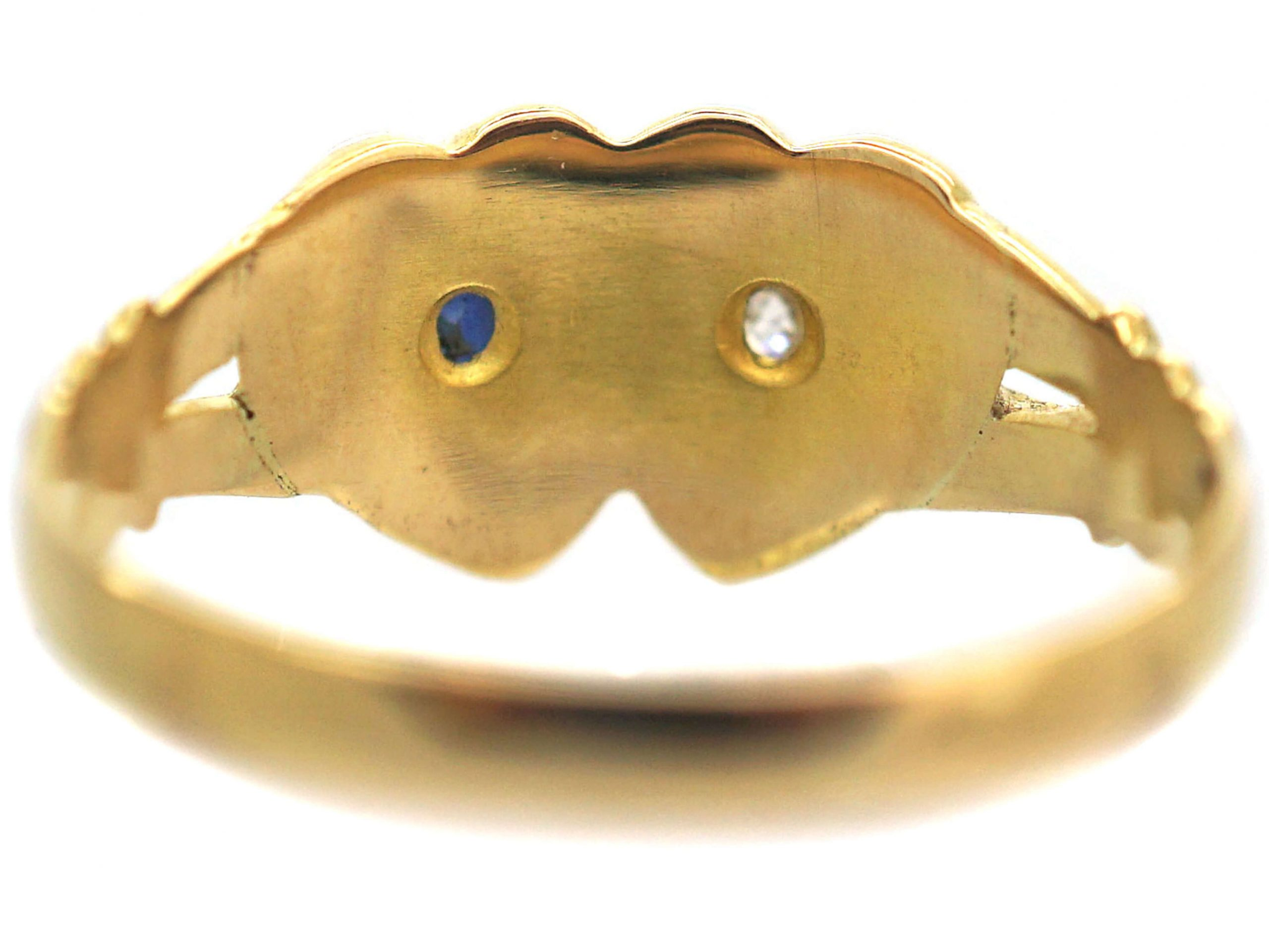 Victorian 18ct Gold Double Heart Ring set with a Sapphire & a Diamond