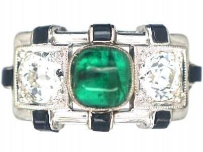 Art Deco 14ct White Gold, Cabochon Emerald , Onyx & Diamond Geometric Ring