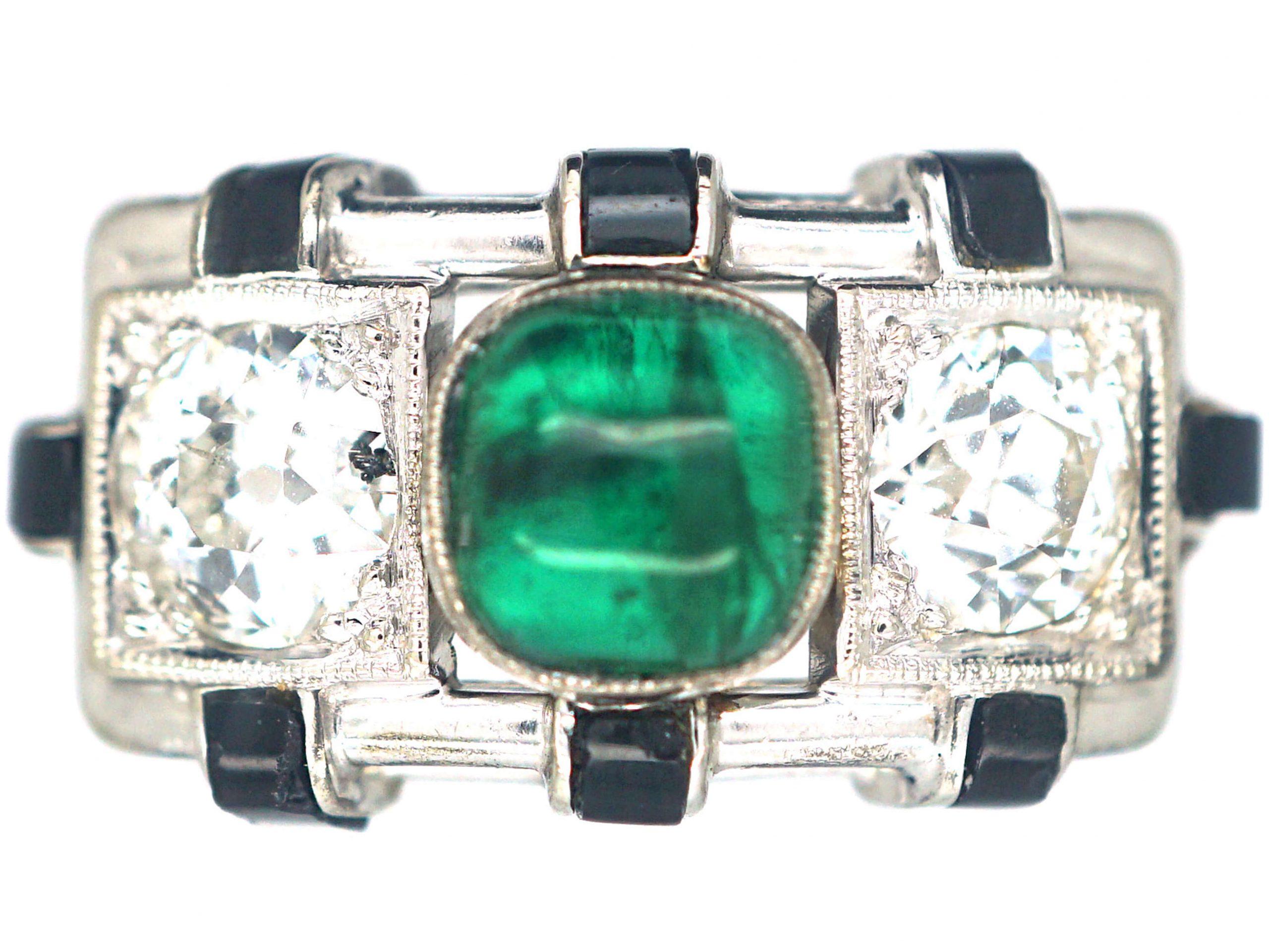 Art Deco 14ct White Gold, Cabochon Emerald , Onyx & Diamond Geometric Ring