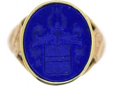 Victorian 18ct Gold, Lapis Lazuli Signet Ring with Intaglio of a Crest