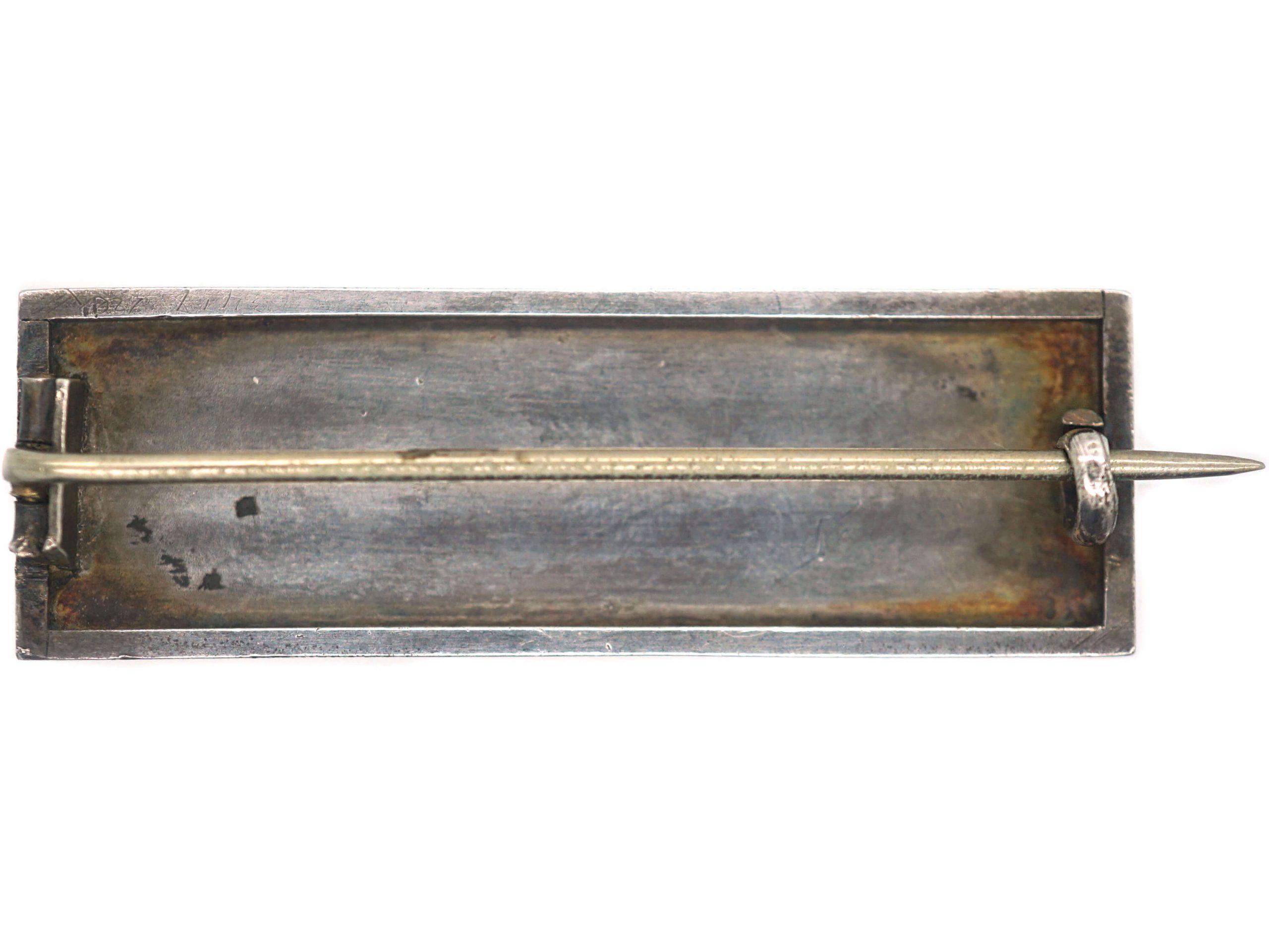 Victorian Silver & Enamel Primrose Brooch