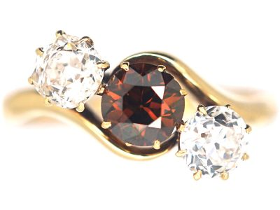 Art Deco Three Stone Cognac & White Diamond Crossover Ring