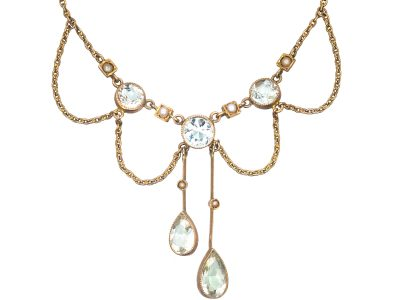 Edwardian 15ct Gold Necklace set with Aquamarines & Split Pearls