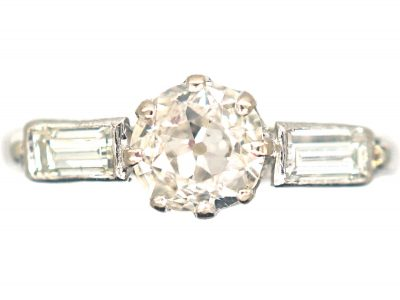 Art Deco 18ct Gold & Platinum, Diamond Solitaire Ring with Baguette Diamond Shoulders