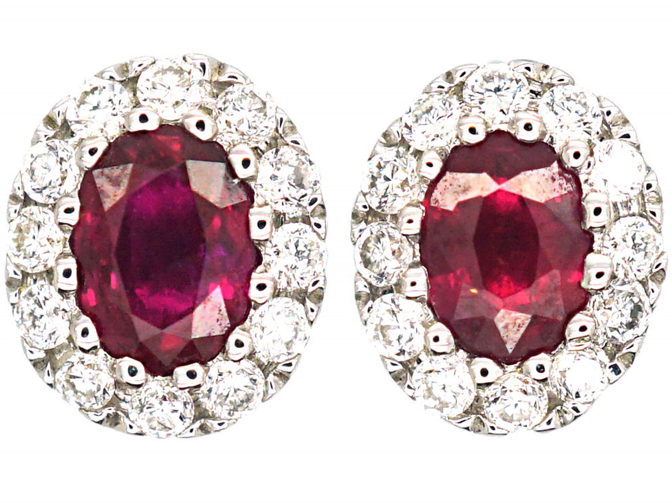 Queen's Coronation 18ct White Gold Small Ruby & Diamond Oval Cluster Earrings