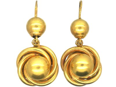 Victorian 15ct Gold Knot & Ball Design Drop Earrings