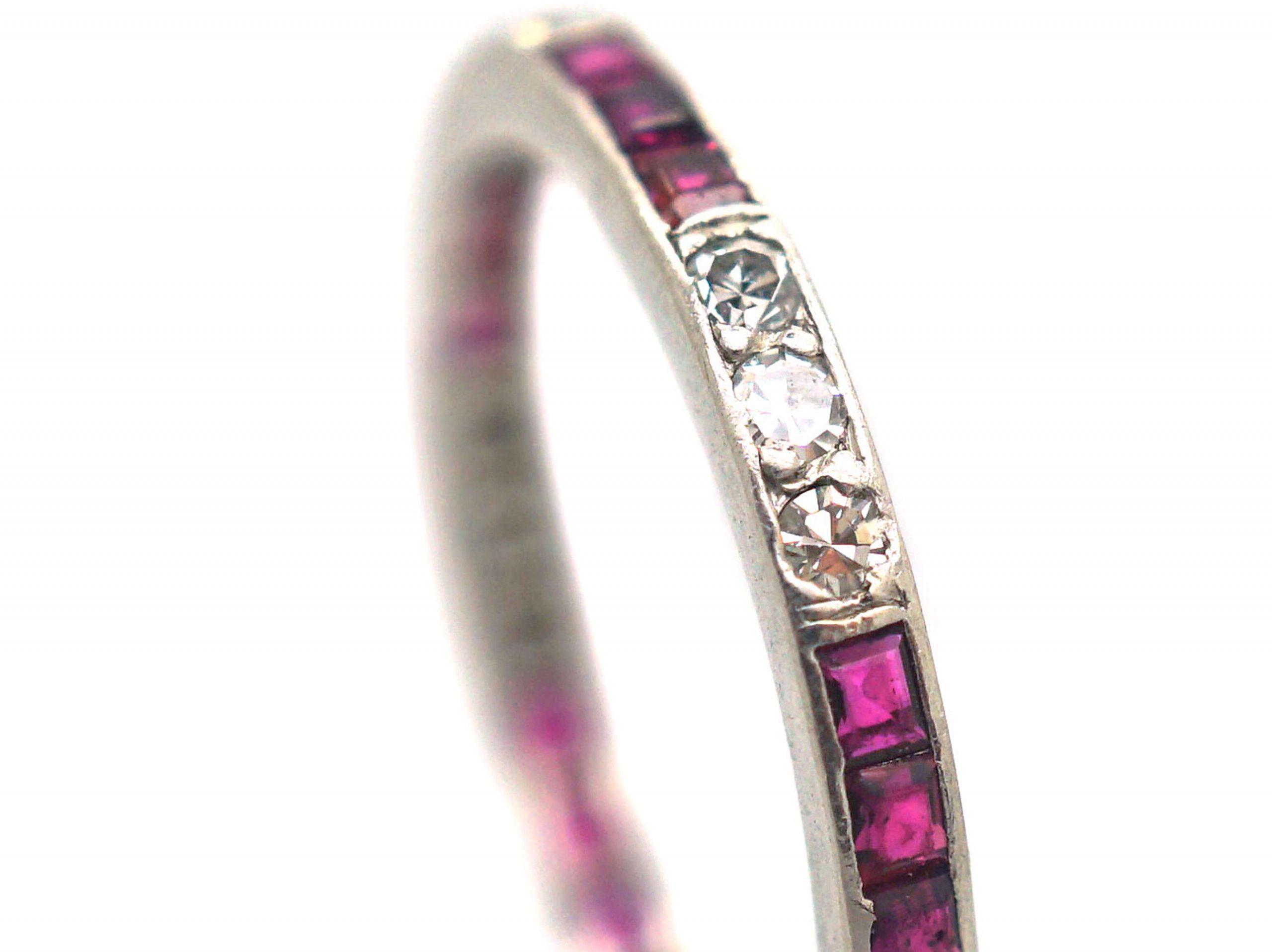 Art Deco Platinum Ruby & Diamond Narrow Eternity Ring