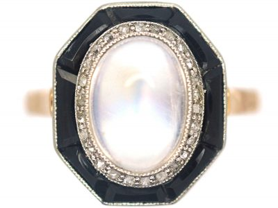 Art Deco 14ct Gold & Platinum, Moonstone, Rose Diamond & Onyx Octagonal Shaped Ring
