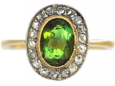 Edwardian 18ct Gold, Green Tourmaline & Rose Diamond Oval Cluster Ring