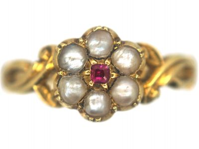 Regency 15ct Gold Natural Split Pearl & Ruby Cluster Ring with Glazed Locket on the Reverse