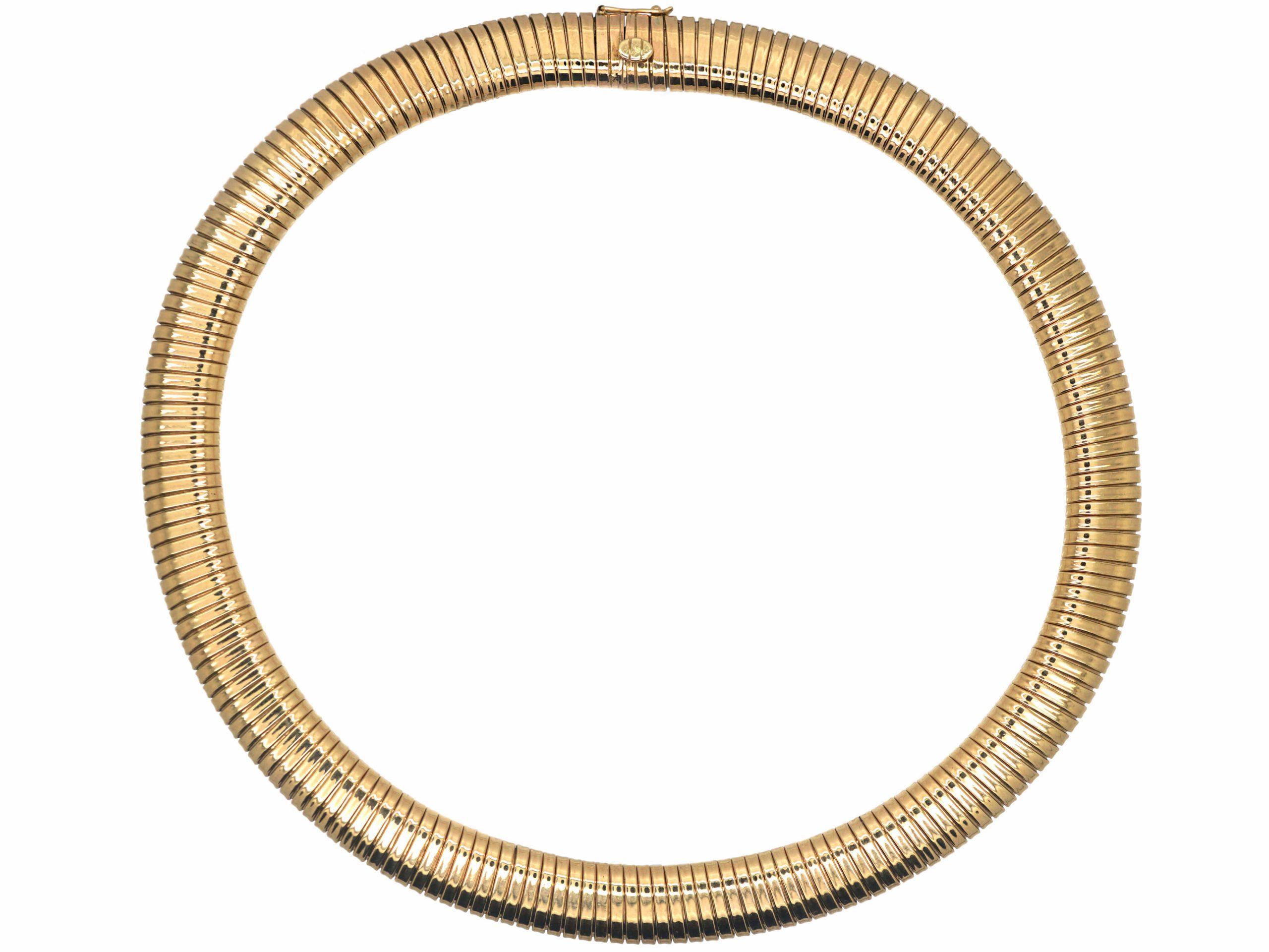 Retro Gas Pipe Flexible Tubogas 9ct Gold Collar Necklace