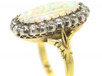 Edwardian 18ct Gold Large Opal & Diamond Oval Cluster Ring