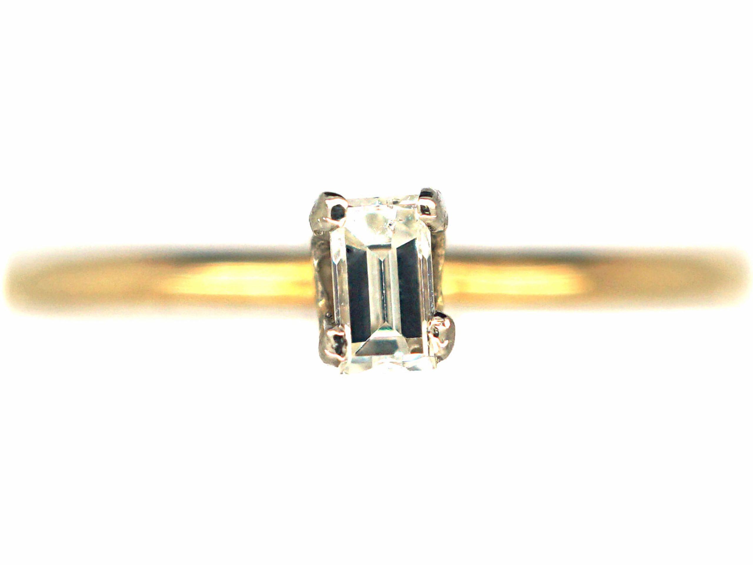 18ct Gold & Diamond Baguette Ring
