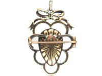 Victorian Silver & 18ct Gold, Cabochon Garnet & Rose Diamond heart Shaped Pendant with Bow Top