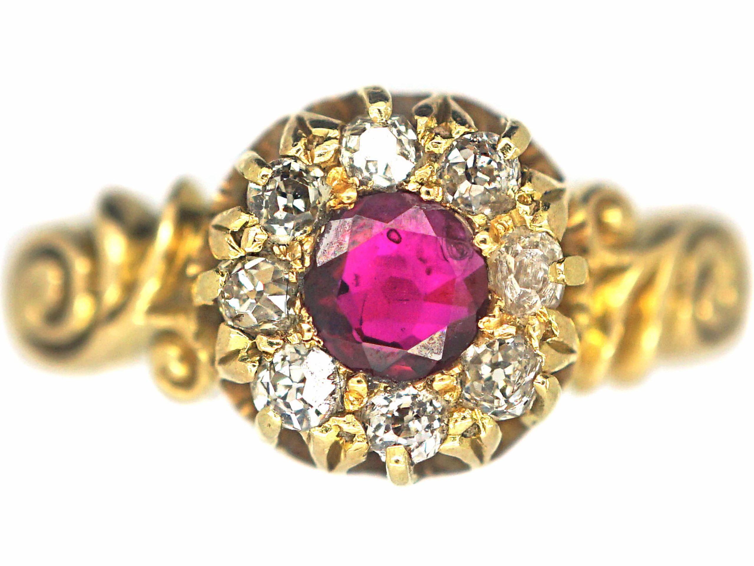 Victorian 18ct Gold Ruby & Diamond Cluster Ring with Ornate Shoulders