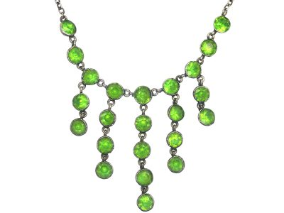 Edwardian Silver & Green Paste Drops Necklace