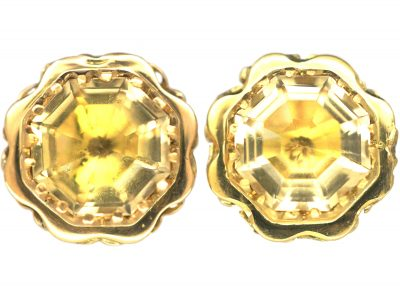 Art Deco 18ct Gold & Citrine Earrings