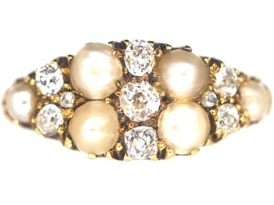 Victorian 18ct Gold Boat Shaped Ring set with Diamonds & Natural Split Pearls