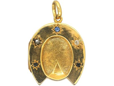 Victorian 15ct Gold Horseshoe Locket set with Sapphire & Rose Diamonds