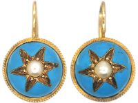 Victorian 15ct Gold Round Earrings with Turquoise Blue Enamel & Natural Split Pearls