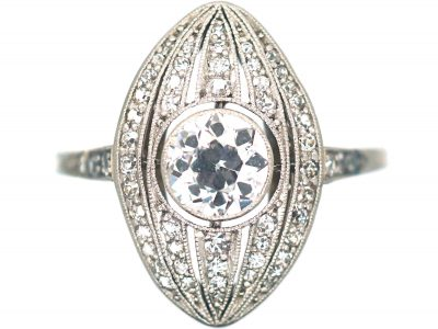 Art Deco Navette Shaped Ring with Large Diamond in the Centre with Small Diamonds Around It