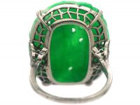 Art Deco French Platinum & Carved Jade Ring of a Peacock