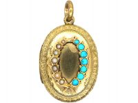 Victorian 15ct Gold Oval Locket set with Turquoise & Natural Split Pearls in a Wreath Design