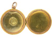 Edwardian 9ct Gold Round Locket set with an Opal
