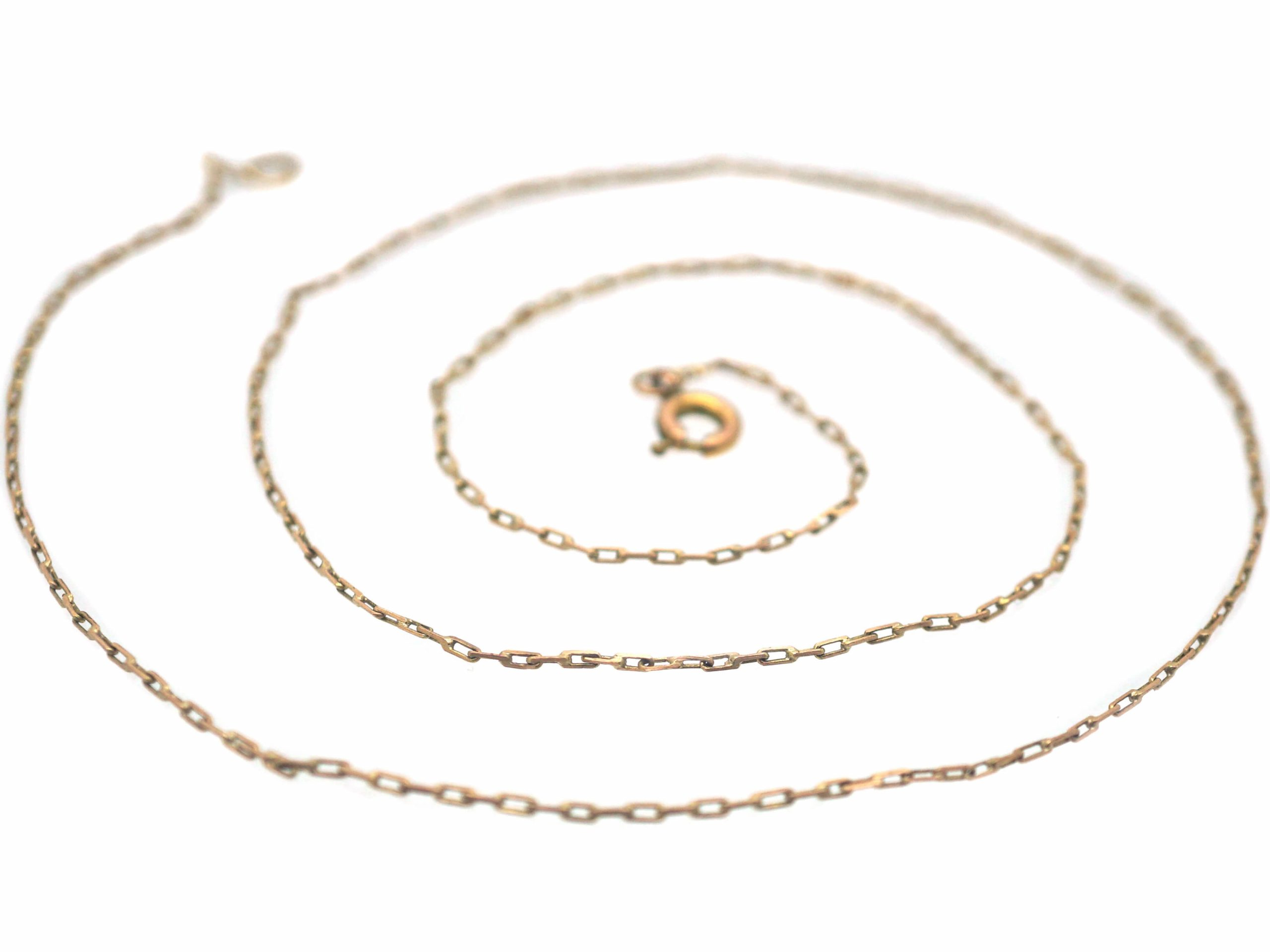 Edwardian 9ct Gold Narrow Box Link Chain