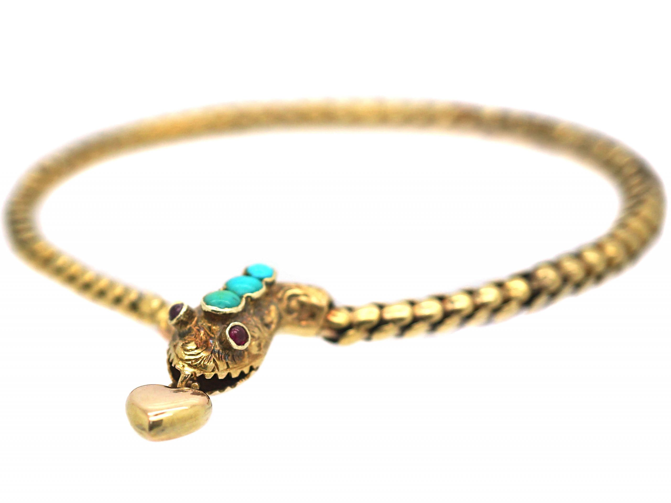 Victorian 15ct Gold Snake Bracelet Set With Turquoise & Heart