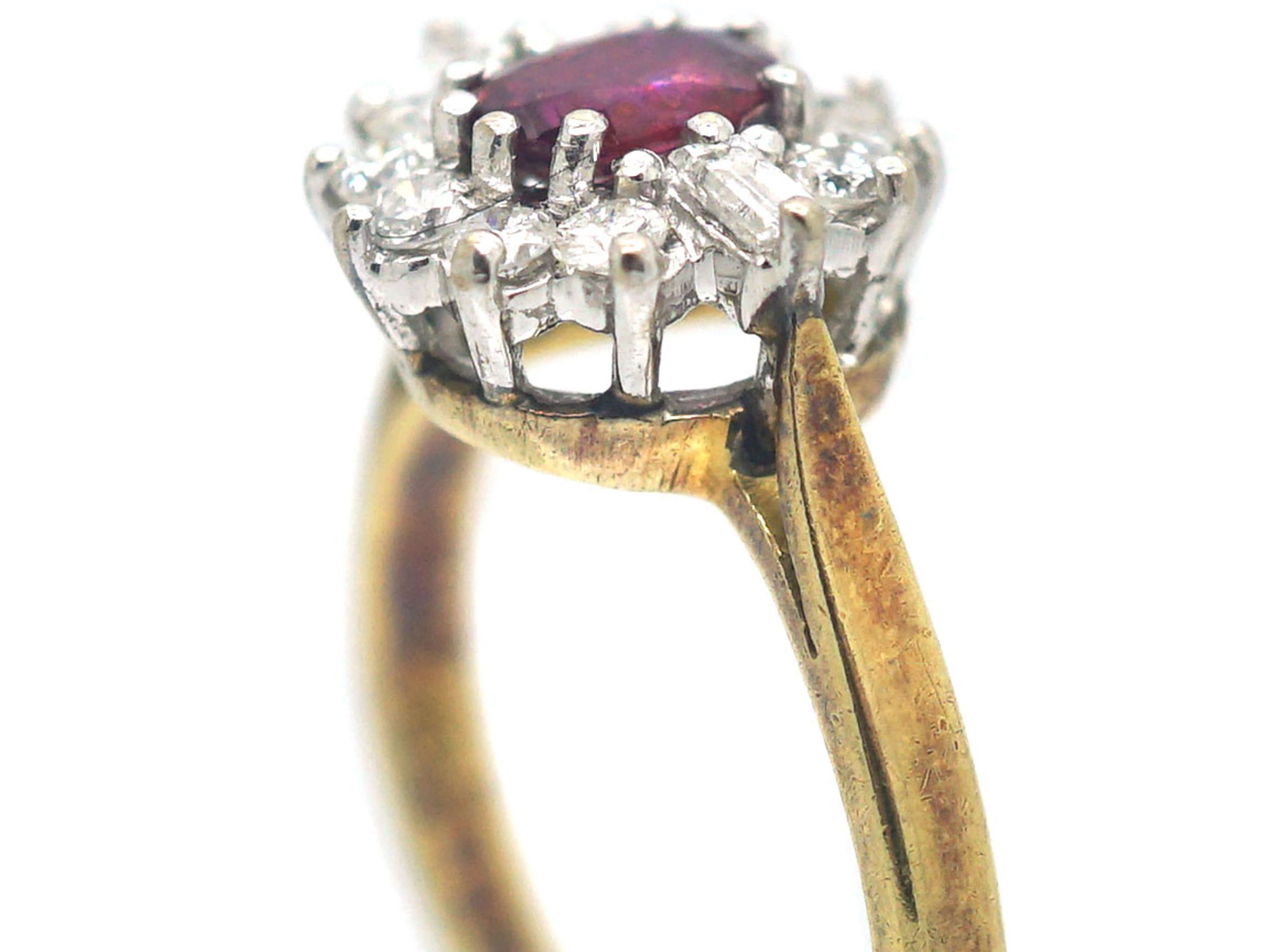 18ct Gold, Ruby & Diamond Cluster Ring with Baguette Diamonds