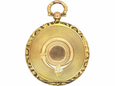 Georgian 15ct Gold Round Locket with Garter Motif