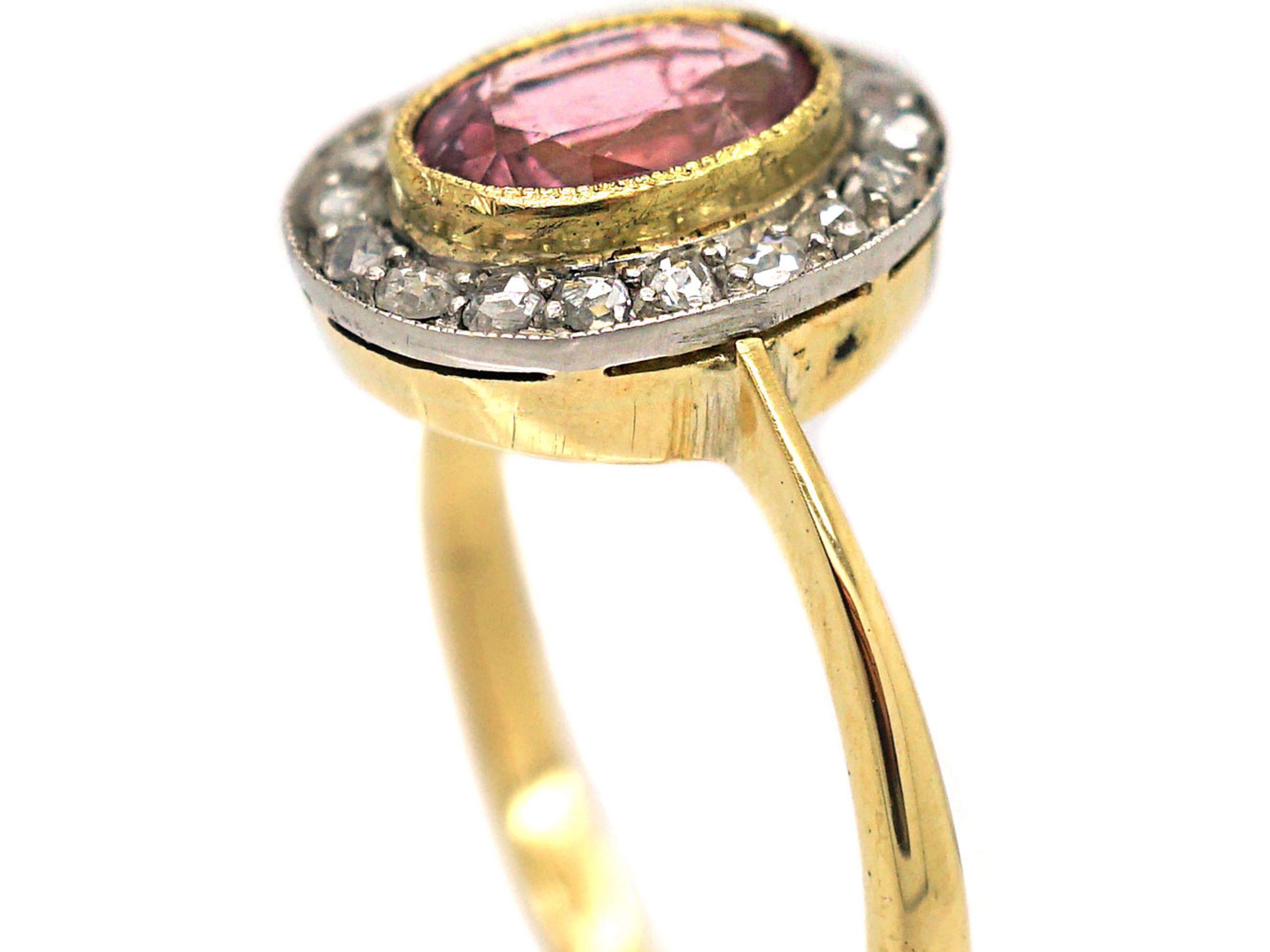 Edwardian 18ct Gold, Pink Tourmaline & Rose Diamond Oval Cluster Ring