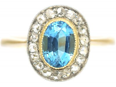 Edwardian 18ct Gold & Platinum, Aquamarine & Rose Diamond Oval Cluster Ring