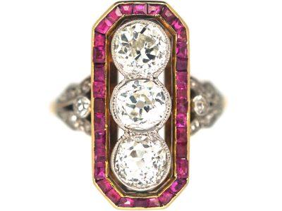 French 18ct Gold & Platinum, Art Deco 18ct Gold & Platinum, Ruby & Diamond Rectangular Ring